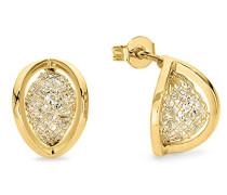 Damen-Ohrringe gelbvergoldet veredelt mit Swarovski Kristallen, 14 mm