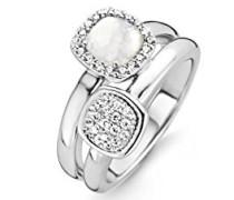 Damen-Ring 925 Sterling-Silber Silber Halbmondschliff Cristal