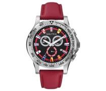 Nautica Herren-Armbanduhr XL Chronograph Quarz Leder A19596G
