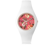 - ICE flower Lunacy - Weiße Damenuhr mit Silikonarmband - 001297 (Medium)