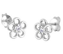 Damen Ohrstecker Blume 925 Sterling Silber Zirkonia weiß Brillantschliff 306510611