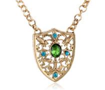 Gold Tone Blue Zircon Smaragd und Kristall Anhänger mit Halskette, 51 cm (20 Zoll)