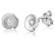 Damen-Ohrstecker 925 Sterling-Silber 2 Zirkonia 7mm