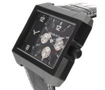 Herren Leon Kingsize Collection Quarz Armbanduhr mit zwei Zeitzonen - Analoge Anzeige - Lederarmband Gehäuse aus Edelstahl Größe XL - OZG1102
