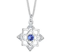 Damen-Kette mit Anhänger Lotusblume Ornament 925 Silber blau Rundschliff Kristall 45 cm - 0101982617_45