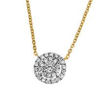Damen-Halskette Glamour 585 Gelbgold rhodiniert Diamant (0.16 ct) weiß Brillantschliff 45 cm-Pa C6822GG Kettenanhänger Schmuck Diamantkette