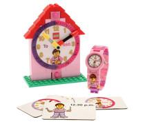 LEGO Unisex-Armbanduhr Zeit Lehrer Rosa Analog Quarz Plastik 9005039