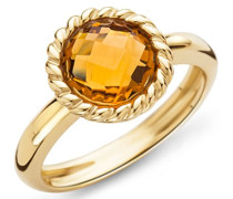 Miore Damen-Ring 9 Karat ( 375 ) Gelbgold Citrin Quartz 2ct. Quarz orange Rundschliff Gr. 52 (16.6) - MNA9027R2