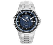Men'Cat Navigo Carbon-Datum Herren Quarzuhr mit blauem Zifferblatt Analog-Anzeige und Silber-Edelstahl-Armband A5.141.11.616