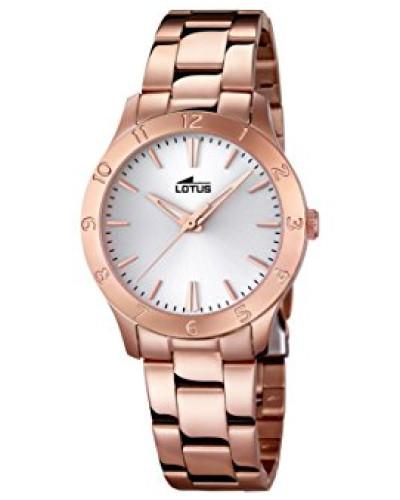 Damen Quarzuhr mit weißem Zifferblatt Analog-Anzeige und Edelstahl Rose vergoldet Armband 18141/1