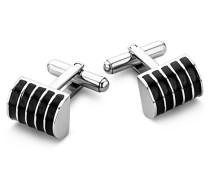 Herren-Manschettenknöpfe hochwertiger Edelstahl Emaille schwarz