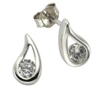 ZEEme Damen-Ohrstecker 925 Sterling Silber Zirkonia weiß 280220046