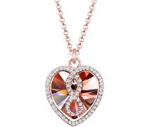 Damen-Kette mit Anhänger Herz, Infinity Unendlichkeit 925 Sterling-Silber teilvergoldet braun Facettenschliff Kristall 45 cm