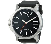 Puma Ultrasize 50 Herren-Quarzuhr mit schwarzem Zifferblatt Analog-Anzeige und schwarzem PU Armband pu102941006