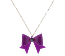 Damen Halskette Schleife Gold Acryl Lila 47,5cm