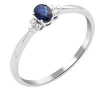Miore Damen Solitär-Ring, 9 Karat Weißgold, Saphir, Größe 52, MY051R2