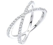 Elli Damen-Stapelring Wickelring 925 Silber Zirkonia weiß Brillantschliff Gr. 52 (16.6) - 0608691214_52