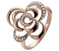 Damen-Ring 925 Silber teilvergoldet Zirkonia weiß Rundschliff