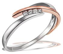 Damen-Ring 585 Rotgold rhodiniert mattiert Diamant (0.05 ct) weiß Brillantschliff