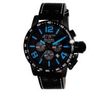 Jet Set-j8358b-337-San Remo-Armbanduhr-Quarz Chronograph-Schwarzes Ziffernblatt-Armband Leder Schwarz