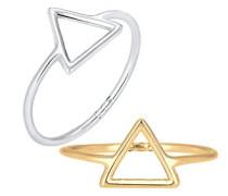 Ring Dreieck Geo Set Trend Blogger vergoldet silber 925