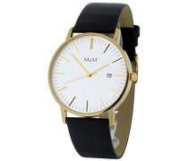 M&M Herren-Armbanduhr Analog Quarz Leder M11070-432
