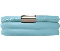 Damen-Armband Light Blue 2-reihig Edelstahl Leder 36.0 cm - 12111-36
