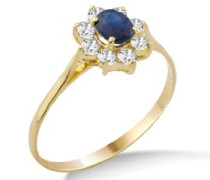 Damen-Ring Saphir und Zirkonia 9 Karat 375 Gelbgold