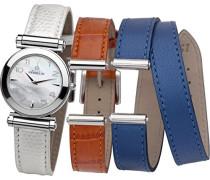 COF17443/19OBW Damen-Armbanduhr, Quarz, analog, Armband aus Leder, Weiß