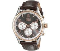 Cerruti 1881 Herren-Armbanduhr BELLAGIO Analog Quarz Leder CRA107STR13BR