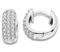 Damen-Creolen 925 Sterling Silber Cubic Zirkonia 925 Silber rhodiniert weiß Rundschliff - MSAE028E