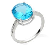 Damen-Ring 375 Weißgold Blauem Topas und Brillanten