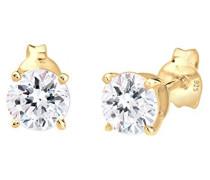 Damen-Ohrstecker Basic 925 Silber teilvergoldet Swarovski Kristalle gold Facettenschliff - 0302540717