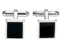 Herren-Manschettenknöpfe 925 Sterling Silber Achat schwarz Rechteckige Manschettenknöpfe mit schwarzem Achat