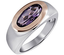 Damen-Ring 925 Sterling Silber rhodiniert Zirkonia violett