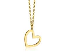 Damen-Collier Halskette Herz Anhänger 375 Gelbgold 45 cm - MGM901N