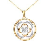 Damen-Anhänger 375 Gelbgold teilrhodiniert Diamant 0,05 ct weiß 46 cm Rundschliff