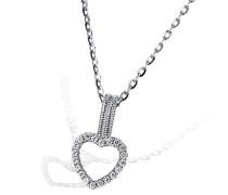 Damen-Halskette 925 Sterlingsilber rhodiniert 20 weiße Zirkonia Kettenanhänger Schmuck