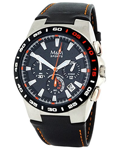 Herren-Armbanduhr Chronograph Quarz Leder M11683-445