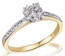 Damen-Ring Glamour Bicolor 585 Gold 29 Diamanten 0,32 ct.