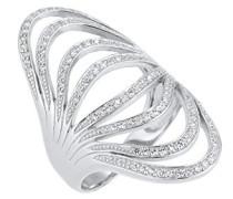 Premium Damen Ring 925 Sterling Silber Zirkonia weiß Rundschliff
