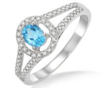Damen-Ring  375 Weißgold mit Blau Topas 0,45ct und  Brillanten Weiß 0,26ct MP9006RP