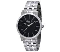 IKC9231Herren Uhr mit PU-Armband, Schwarz/Grau