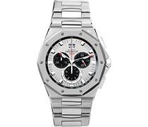 Odyssee Chrono Herren Quarz-Armbanduhr mit Silber Zifferblatt Chronograph-Anzeige und Silber Edelstahl Armband 36631/B23