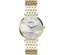 Michel Herbelin Damen Midi Epsilon Bct Women'Armbanduhr Analog Edelstahl Gold/BP89 17345 Armband vergoldet