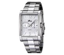 Lotus Herren Quarz-Uhr mit weißem Zifferblatt Analog-Anzeige und Silber Edelstahl Armband 18220/1