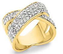 Damen-Ring X gelbvergoldet Swarovski Kristalle silber