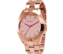 –j6979r-052Damen-Armbanduhr–Quarz Analog–Zifferblatt Rosa Armband Stahl Gold
