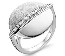 Damen-Ring Black Rhodium Plated 925 Silber rhodiniert Zirkonia weiß Rundschliff