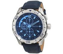 Nautica Herren-Armbanduhr Chronograph Quarz Leder NAI19518G